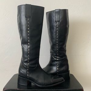 Frye Black Leather Silver Studded Tall Boots 9.5